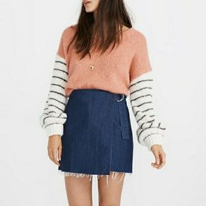 Madewell wrap around denim mini skirt